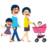 Asian Couple Pushing Stroller Royalty Free Stock Images