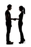 Asian couple shake hands Stock Photo