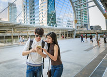 Asian Couple Sightseeing In City Trip Stock Photography