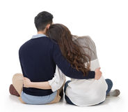 Asian couple sit on ground Stock Photography