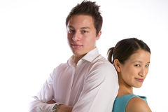 Asian couple standing back to back Royalty Free Stock Image