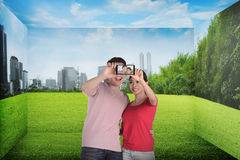 Asian couple take selfie Royalty Free Stock Photography