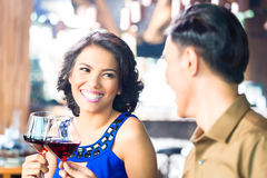 Asian Couple toasting royalty free stock image
