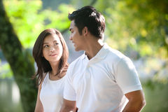 Asian Couple together in Park Stock Photography