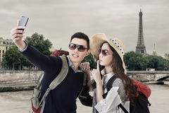 Asian couple travel and selfie Royalty Free Stock Images