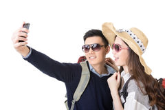 Asian couple travel and take a selfie Royalty Free Stock Photos