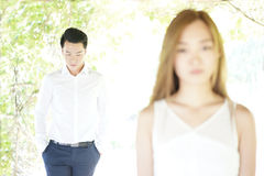 Asian Couple in an unhappy relationship Royalty Free Stock Photos