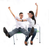 Asian couple on white Royalty Free Stock Image