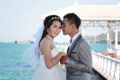Asian couples in outdoor Pre Wedding Photography. Asian couples in outdoor Pre Wedding Photography,Locations seaside in Thailand sea,concept of love and the Royalty Free Stock Photo