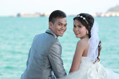Asian couples in outdoor Pre Wedding Photography. Asian couples in outdoor Pre Wedding Photography,Locations seaside in Thailand sea,concept of love and the Stock Photos