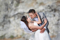 Asian couples photos of pre wedding concept of love and Marriage. In nature outdoor on rocky mountain background Stock Photography