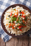 Asian Couscous with vegetables close-up. vertical top view Stock Photography