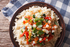 Asian Couscous with vegetables. Horizontal top view Royalty Free Stock Photo