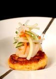 Asian crab cake with scallop and vegetable salad royalty free stock photography
