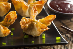 Asian Crab Rangoons with Sweet and Sour Sauce Royalty Free Stock Photos