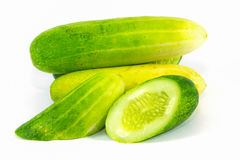 Asian cucumbers on white background ready for cook. Fresh Asian cucumbers on white background, isolated Royalty Free Stock Photos
