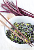 Asian Cuisine. Chinese Long Beans or Yard long beans stir fried with eggs Stock Image