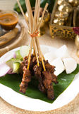 Asian Cuisine beef Satay with rice and traditional setup. Asian Cuisine beef Satay with traditional setup Stock Photos