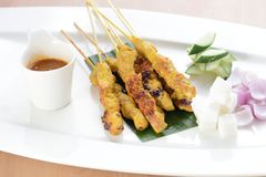 Asian Cuisine Chicken Satay Royalty Free Stock Photos