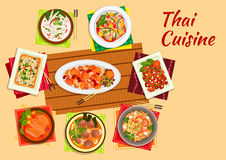 Asian cuisine dinner with thai dishes flat icon Stock Photography
