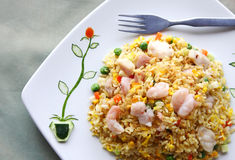 Asian Cuisine - Fried Rice. Delicious Seafood Fried Rice meal Royalty Free Stock Photos
