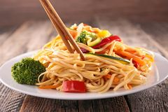 Asian cuisine. Noodles and vegetables Stock Photo