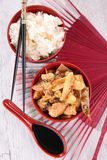 Asian cuisine, rice and chicken Stock Photography