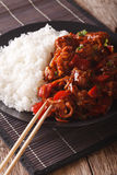 Asian Cuisine: Rice with pork in sweet and sour sauce closeup. v Royalty Free Stock Photography