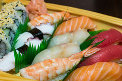 Asian cuisine - sea food. Sea food on plate, closeup Royalty Free Stock Images
