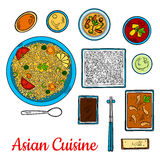 Asian cuisine sketch with seafood and rice dishes Stock Photo