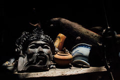 Asian cultural mask lia. Old, vintage in the archival dust. Stock Images