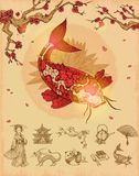 Asian Culture Concept. With red fish and sakura composition and set of monochrome icons  vector illustration Stock Photos