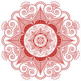 Asian culture inspired  wedding makeup mandala henna tattoo decoration flower shape made out of leaves, hearts in  red and white s Stock Photo