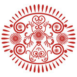 Asian culture inspired  wedding makeup mandala henna tattoo lace decoration in oval shape made out of leaves, hearts in  red  symb Royalty Free Stock Image