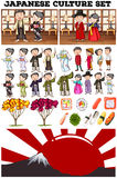 Asian culture with people in costume. Illustration Royalty Free Stock Image