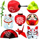 Japanese cultural set in low poly design royalty free stock images