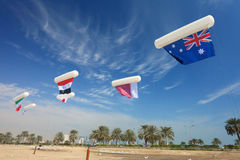 Asian Cup flags in Doha Royalty Free Stock Photography