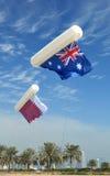 Asian Cup flags over doha Stock Photos