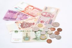 Asian Currencies Royalty Free Stock Photography