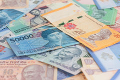 Asian currencies background. Asian currencies of India, Indonesia and Malaysia