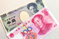 Asian currency, china and japan Royalty Free Stock Images