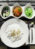 Asian curry & vegetables set meal Stock Photos