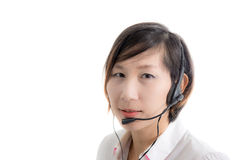 Asian customer service operator woman Royalty Free Stock Photo