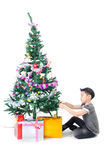 Asian cute boy with gift box ,decorate Christmas t Stock Photos