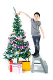 Asian cute boy with gift box ,decorate Christmas t Royalty Free Stock Photo