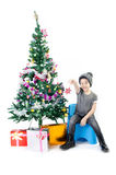 Asian cute boy with gift box ,decorate Christmas t Stock Images