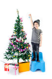 Asian cute boy with gift box ,decorate Christmas t Stock Photography