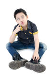 Asian Cute boy isolate on white background . Royalty Free Stock Photography