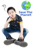 Asian Cute boy isolate on white background , Save the world conc Royalty Free Stock Image