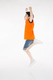 Asian cute boy is jumping with smile face Royalty Free Stock Photos